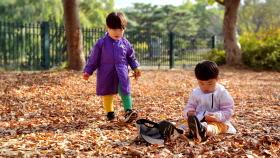 어린 형제의 낙엽놀이
